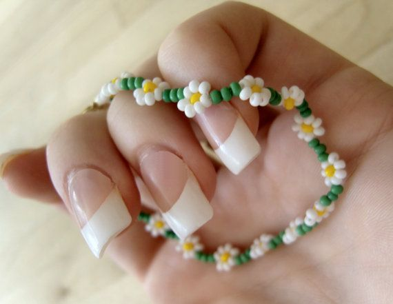 Daisy Chain Bracelet Seed Beaded Bracelet by JewelleryByJora, £7.00