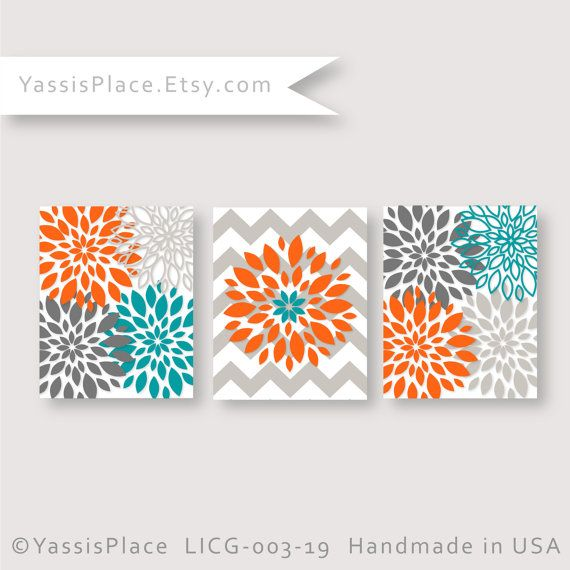 Turquoise Orange Gray Flower Burst Wall Art  Name initial, Monogram Sign.    * Listing includes 3 UNFRAMED prints    * Prints are NOT mounted and