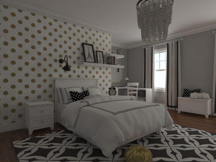 Meble Fiorentino dla dziewczynki.Złoto-białe grochy i delikatna szaroścć ścian połączona z czarnymi akcentami. Meble w kolorze ciepłej bieli.Cudo 👋👋👋