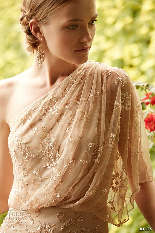 bhldn spring 2015 bridal one shoulder beaded tulle champagne draped wedding dress raquel closeup