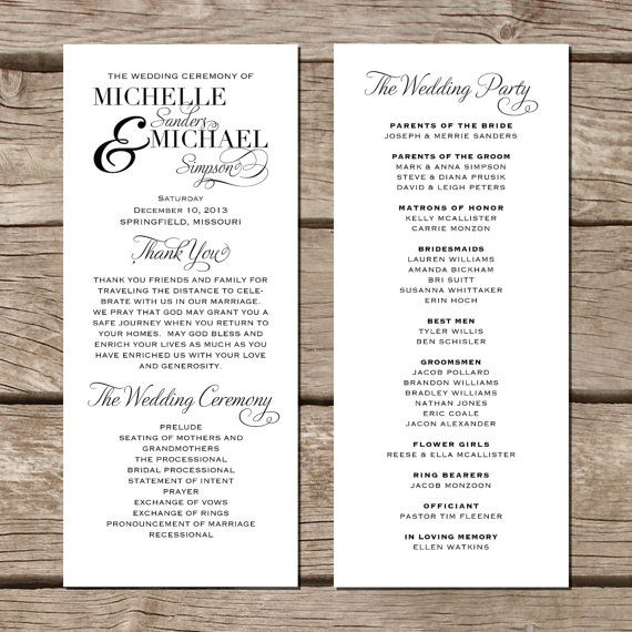 Simple Elegant Wedding Program // Modern Trendy By