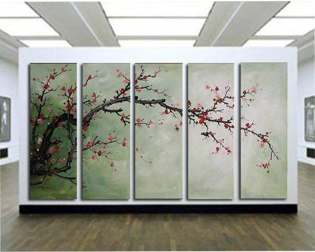 free shipping handpainted 5 piece modern decorative oil painting on canvas wall art cherry blossom for living room unique gift-in Painting &...