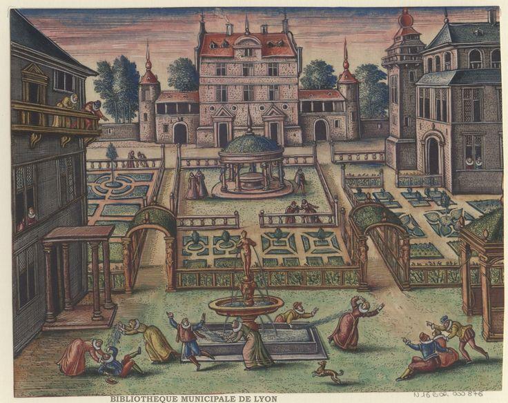 Gentlemen and ladies playing at the fountain by  Peeter van der Borcht, 16th century.  Bibliothèque Municipale De Lyon, Public Domain