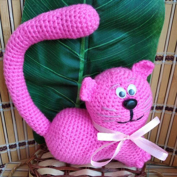 Crochet cat toy doll Pink cat toy Funny toy cat stuffed
