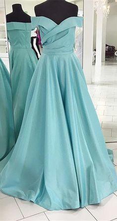 Tiffany Blue Prom Dress,Off the Shoulder Prom Dress,Custom Made Evening Dress,17377