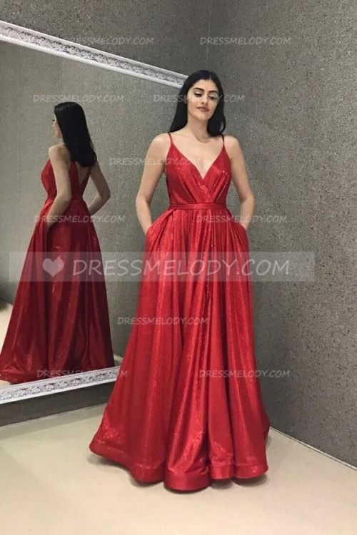 Spaghetti Straps Sleeves Floor-Length Solid Pleated Red Evening Dress #eveningdress #eveningdresses #eveninggown #eveninggowns #promdress #promdresses...