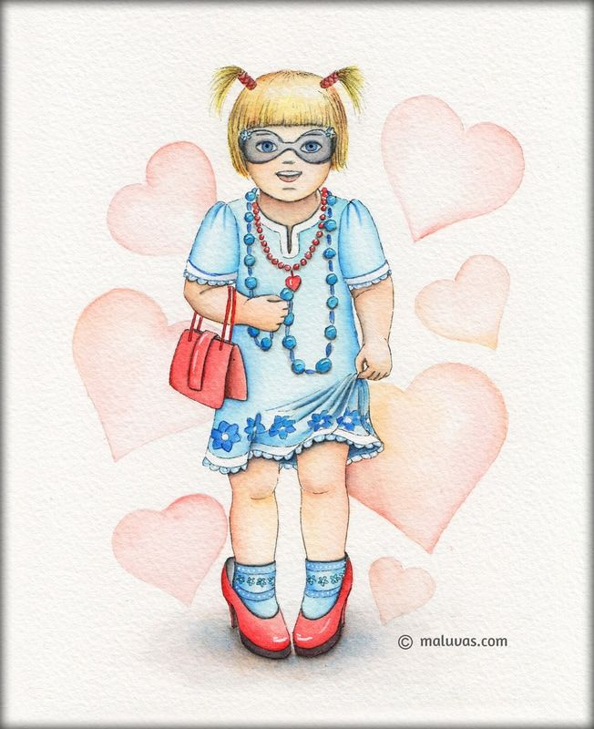 I feel pretty in mommy's shoes - Inktense pencils on 300gsm Daler-Rowney watercolor paper.