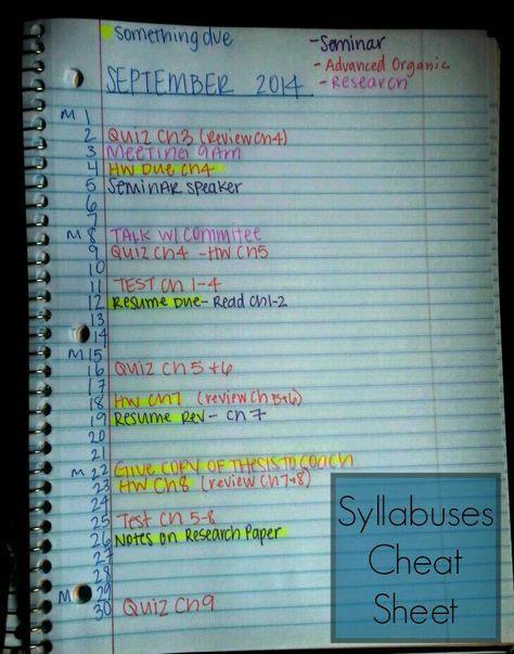 syllabus cheat sheet