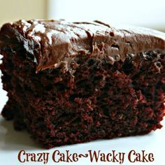 Wacky Cake -- no eggs, butter, or milk! Great for allergies and great for a last minute dessert without going to the grocery store!