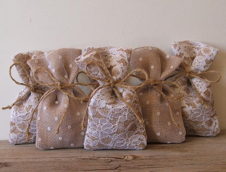 Rustic wedding (100 pc) favor bags burlap-lace-tulle(3x5inch). $180.00, via Etsy.