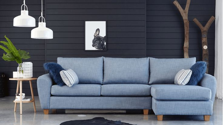 Option Fabric Sofa With Chaise Light Blue Domayne