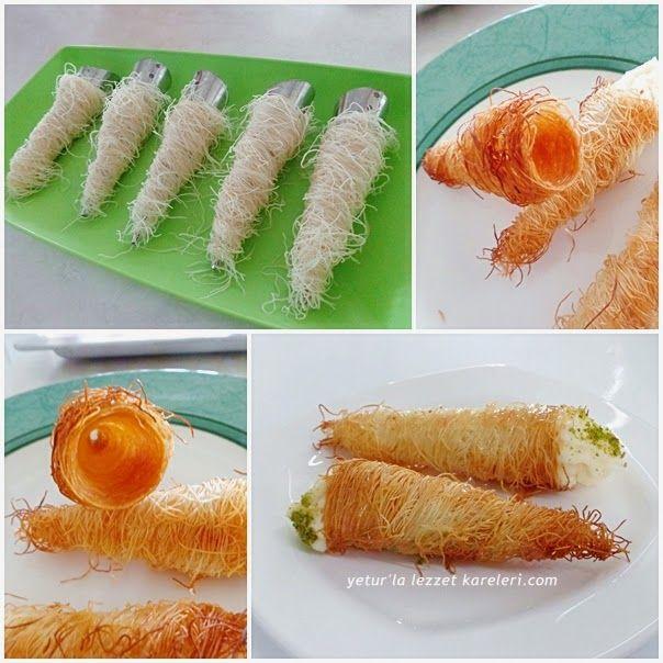 yetur'la lezzet kareleri: kremalı külah kadayıf tatlısı-1/2 Kg TAZE KADAYIF 125…