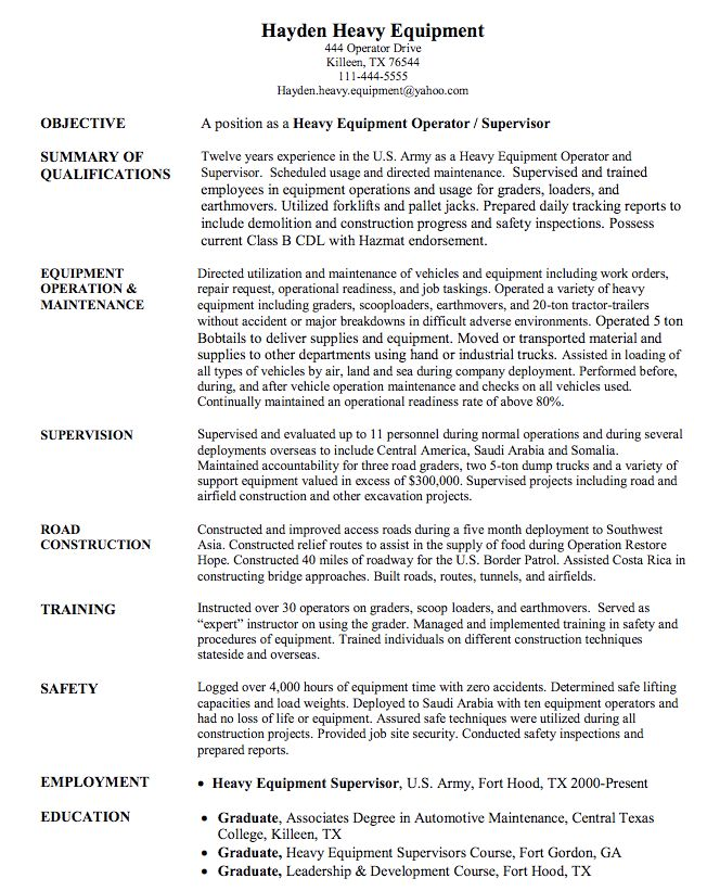 Forklift Operator Sample Resume Objective For Warehouse Resume