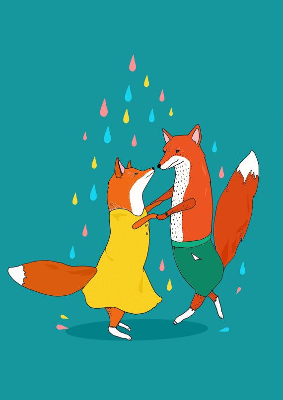 """""""Foxes Dancing in the Rain"""" by Stacie Swift on etsy.com"""