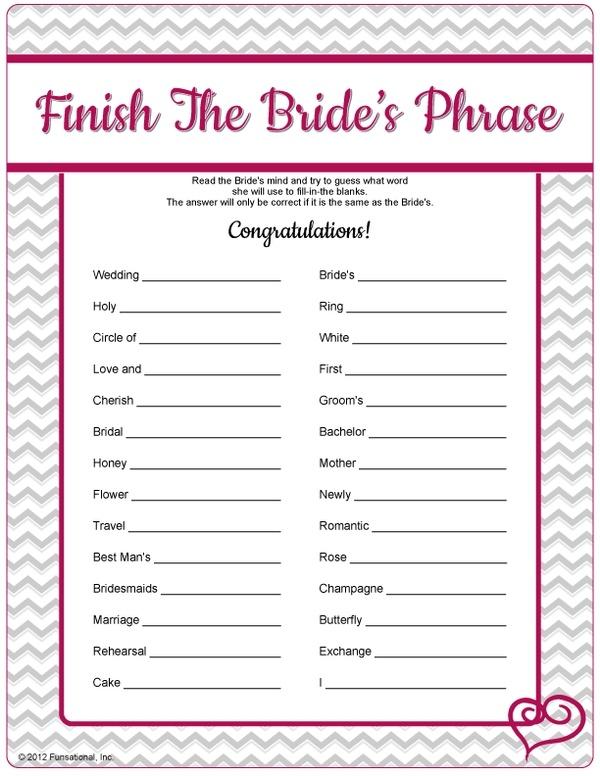 Free Printable Bridal Shower Finish The Bride S Phrase