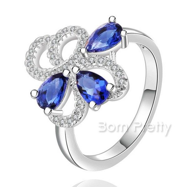 $3.99 Crystal Sapphire Ring Shining Charming Rhinestone Romantic Texture Ring - BornPrettyStore.com