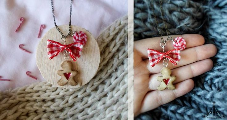 Christmas miniature gingerbread cookie man necklace| linzer cookie | polymer clay cute jewelry  find it here: https://www.facebook.com/AA-Handmade-Jewelry-297747360352236/?ref=ts&fref=ts
