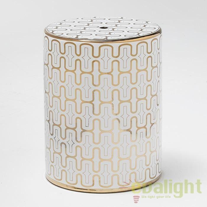 Taburet design modern din ceramica alb / auriu Michell 21007/00 TN - Corpuri de iluminat, lustre, aplice