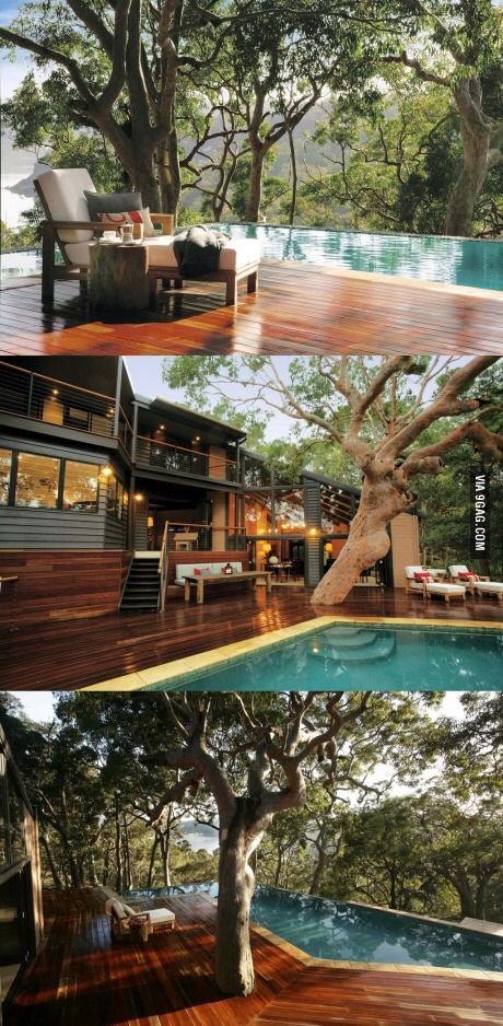 Modern forest house Pool. ideas, backyard, patio, diy, landscape, deck, party, garden, outdoor, house, swimming, water, beach.