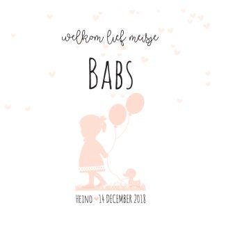Mooie lief silhouet meisjes geboortekaartje met silhouet van meisje met een eendje en ballonnen. Gebruik deze kaart en maak hiervan zelf je eigen persoonlijke geboortekaartje. Wil je de kaart door ons laten opmaken? Geen probleem, wij helpen je graag!