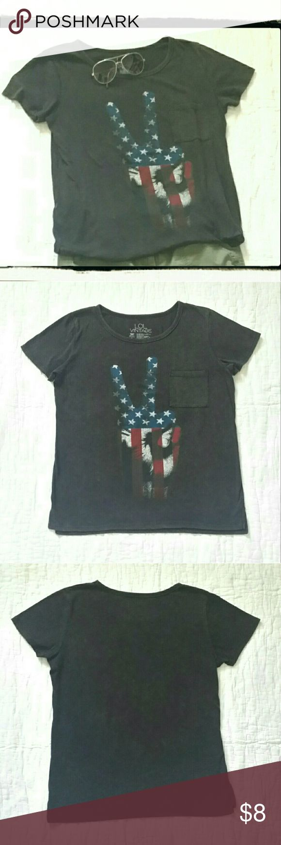 LOL Vintage Patriotic tshirt LOL Vintage tshirt, Patriotic flag print on hand peace sign image, vintage charcoal/black color, size medium. LOL Vintage  Tops Tees - Short Sleeve