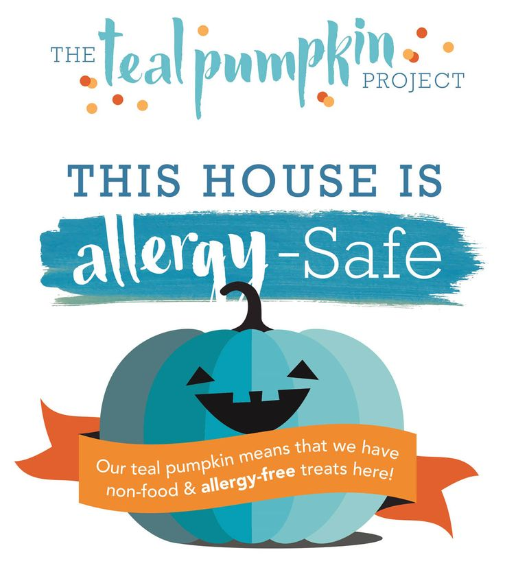 The Teal Pumpkin Project raises awareness of food allergies and promotes having a teal pumpkin to symbolize handing out non-food treats for trick-or-treaters on Halloween.