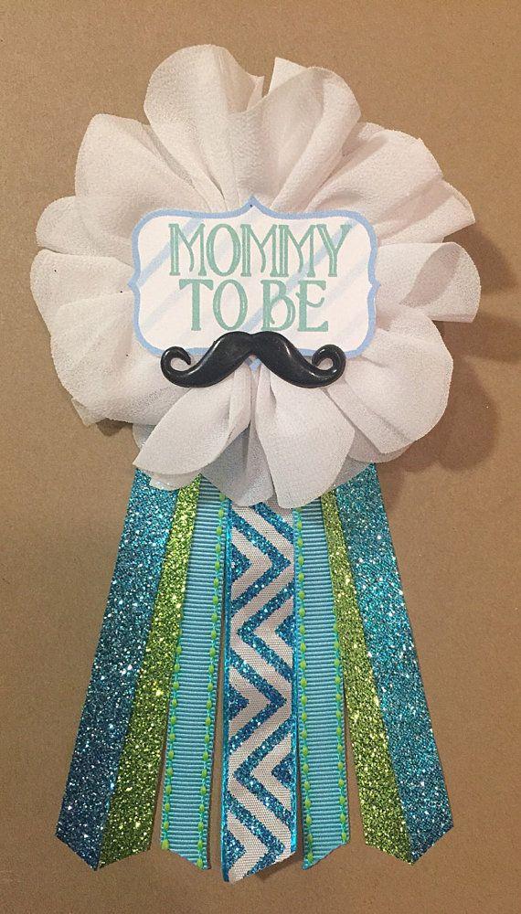 Poco hombre chevron de bigote Baby Shower mamá-ser flor cinta Pin ramillete brillo turquesa aqua mamá mamá mamá nueva