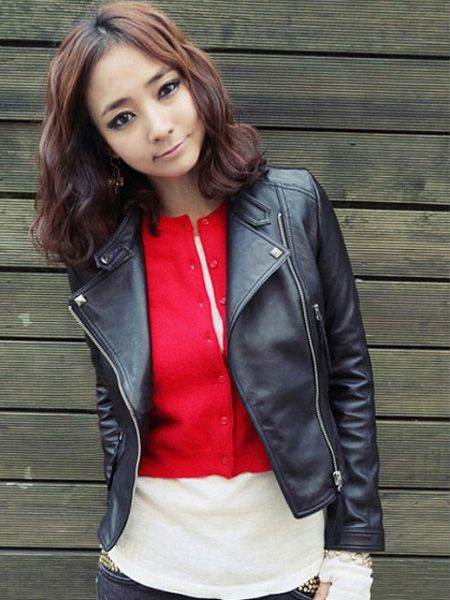 cool Fashion Casual Black Slim Long Sleeve Zipper PU Short Jacket Coat