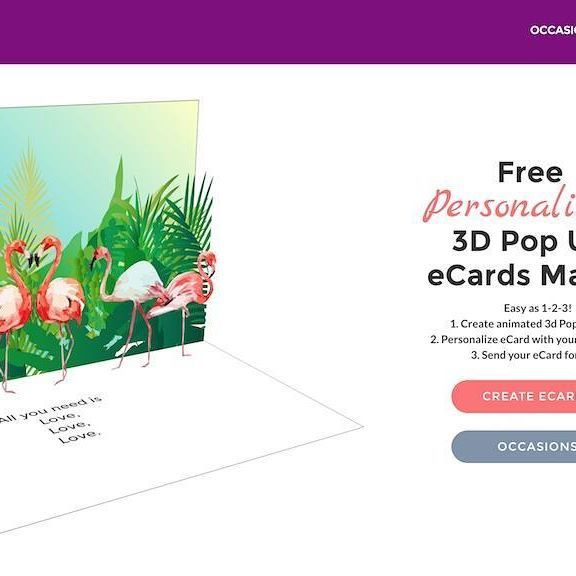 Free Personalized eCards on tridivi.com. Create animated 3d Pop Up cards add your photo or logo and send for free - easy ad 1-2-3!