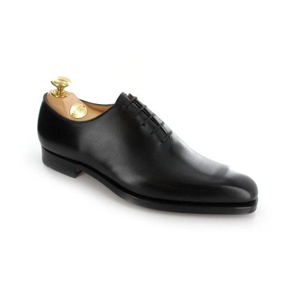 Alex - Black Calf    Alex, a plain design wholecut shoe made from fine calf leather and featuring single leather soles. From Crockett & Jones, Burlington Arcade