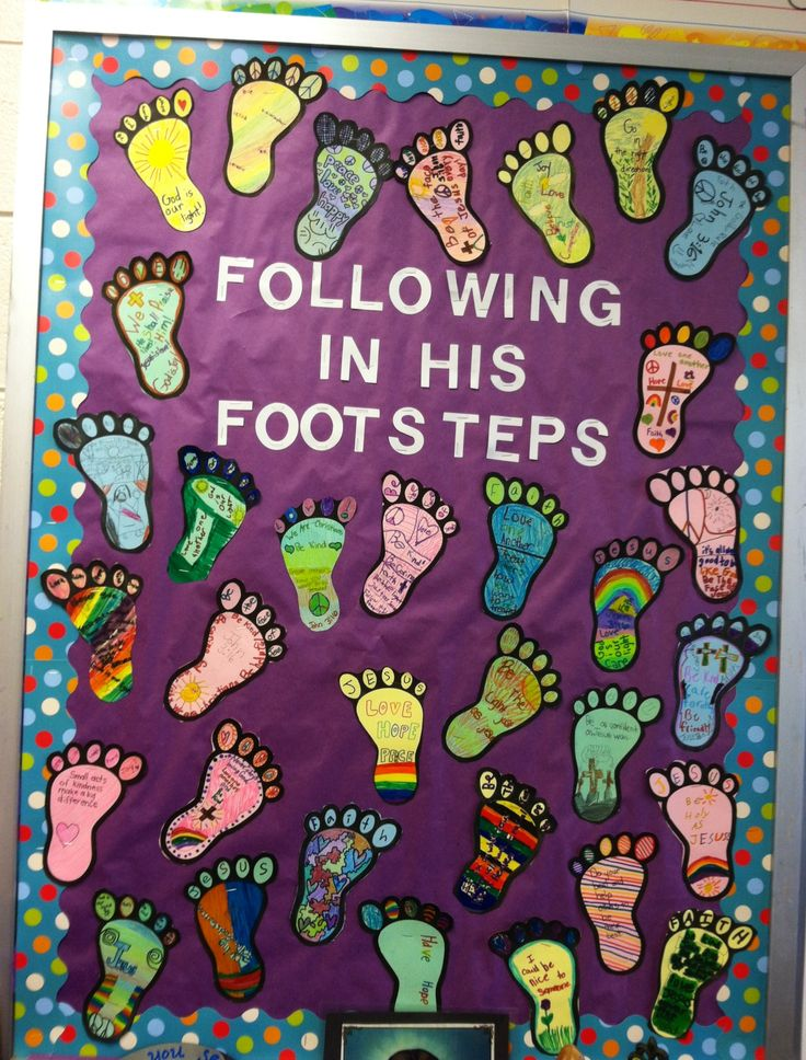 Religious bulletin board we completed today!! The kids loved decorating the footprints with various sayings and drawings. I love how colorful they turned out!! :)