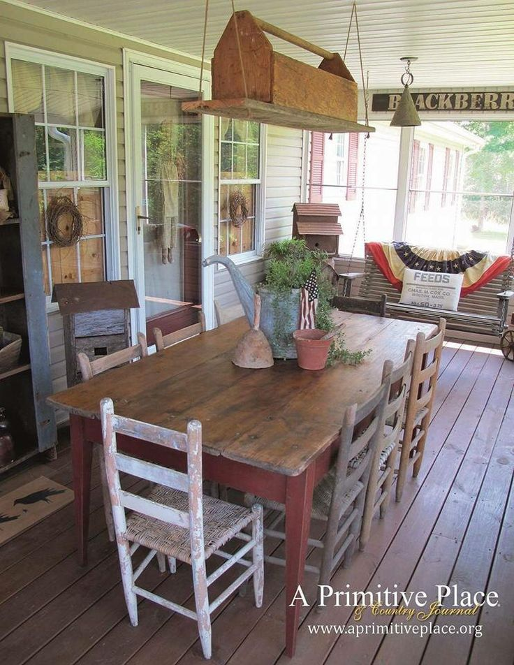 that old toolbox, like dad's, as a light box? or just hanging décor?  That table/chairs, swing!. A screened in porch : )