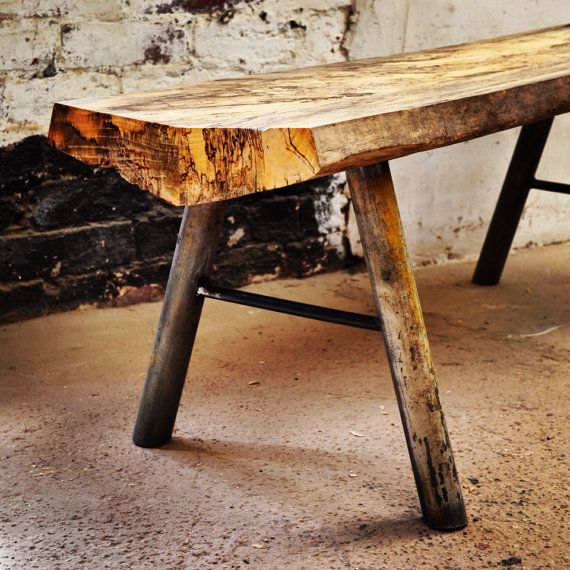 Reclaimed sleeper bench with scaffolding pole by Siddallanddowning