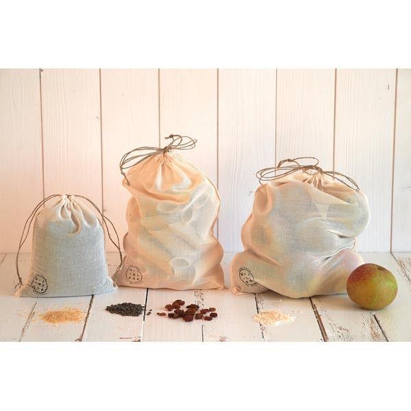 sac à vrac lot de 3 en voile de coton bio