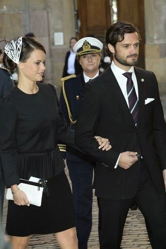 Prince Carl Philip and his fiancee Sofia Hellqvist attends at a service during the Opening of the Parliamentary Session in Stockholm Cathedral on 2014-09-30
