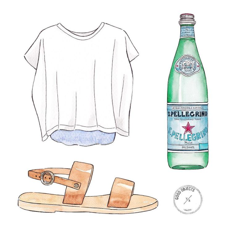 Good objects - Mykonos sandals by @kymasandals , T shirt @mm6maisonmargiela and @sanpellegrino_official #goodobjects #watercolor #illustration