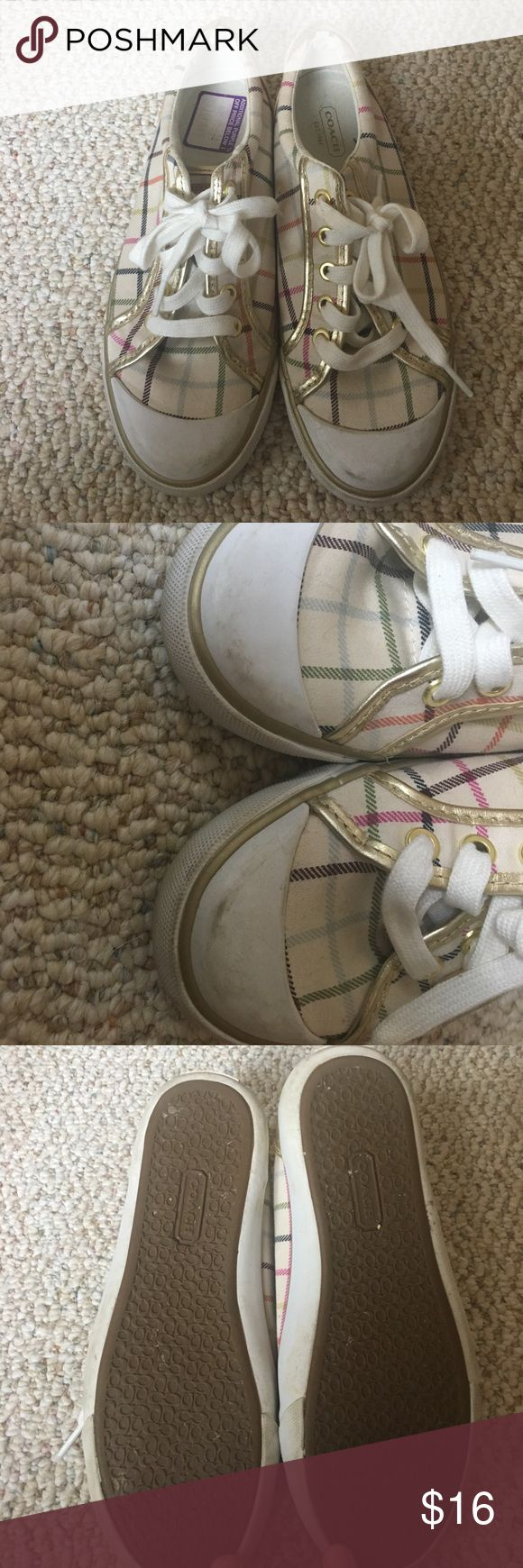 Coach tennis shoes Super cute coach tennis shoes. Just needs the toes polished and they would look brand new. Only worn a handful of times. Coach Shoes Sneakers