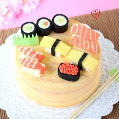 Loving Creations for You: 'Sushi' Wood-style Chiffon Cake