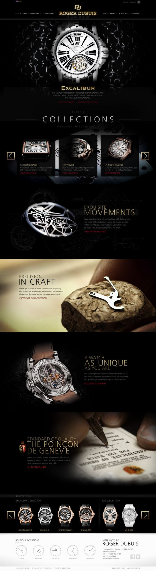 Roger Dubuis - Site Pitch Redesign by Abe Levin, via Behance | Repinned by www.BlickeDeeler.de
