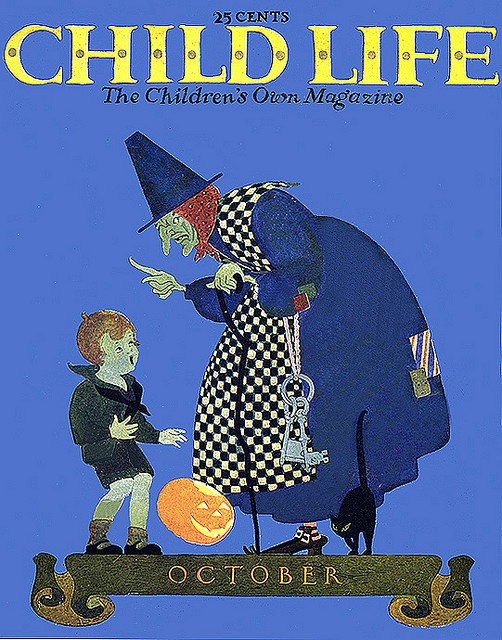 mother goosey witch with huge keys vintage halloween child life magazine cover - Halloween Magazines
