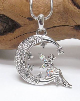 NEW Swarovski Crystal Tinkerbell Fairy on the Moon Pixie Charm Pendant Necklace