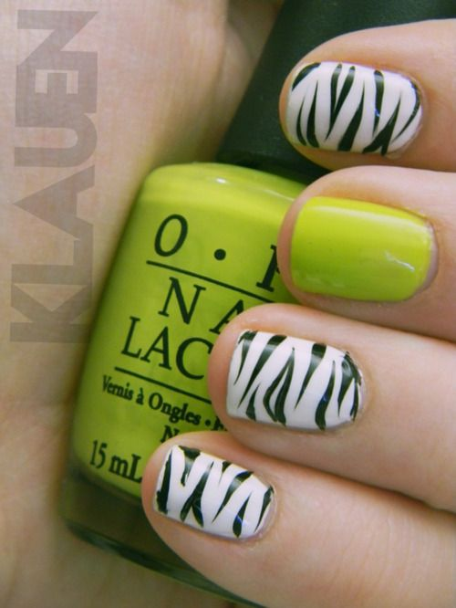 Zebra and greenZebras Stripes, Nails Art, Accent Nails, Neon Green, Summer Nails, Animal Prints, Zebras Prints, Zebras Nails, Green Nails