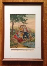 Bela Sziklay Signed Etching Of Hungarian Fishing Children