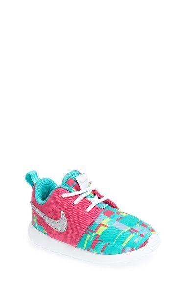 Nike 'Roshe Run' Sneaker (Walker, Toddler & Little Kid) available at #Nordstrom (Size 10, Hyper Pink/ University Blue )