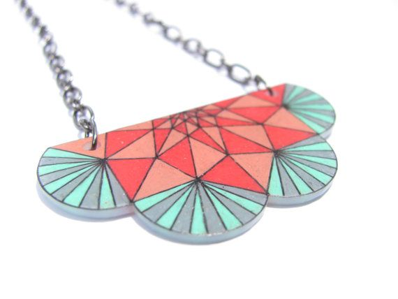 geometric shrink plastic necklace