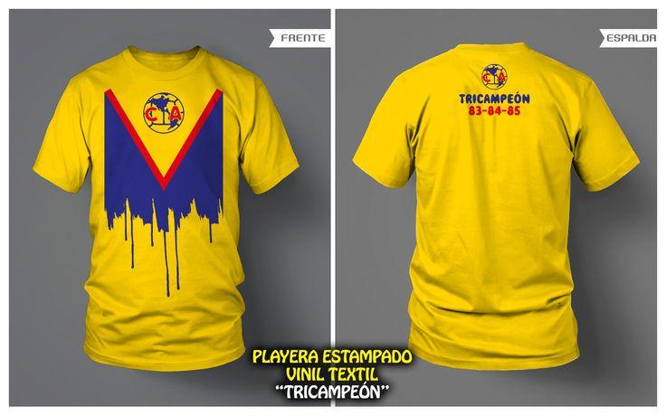 """PLAYERA """"TRICAMPEÓN"""" ESTAMPADO VINIL TEXTIL • FRENTE Y VUELTA • CLUB AMÉRICA"""