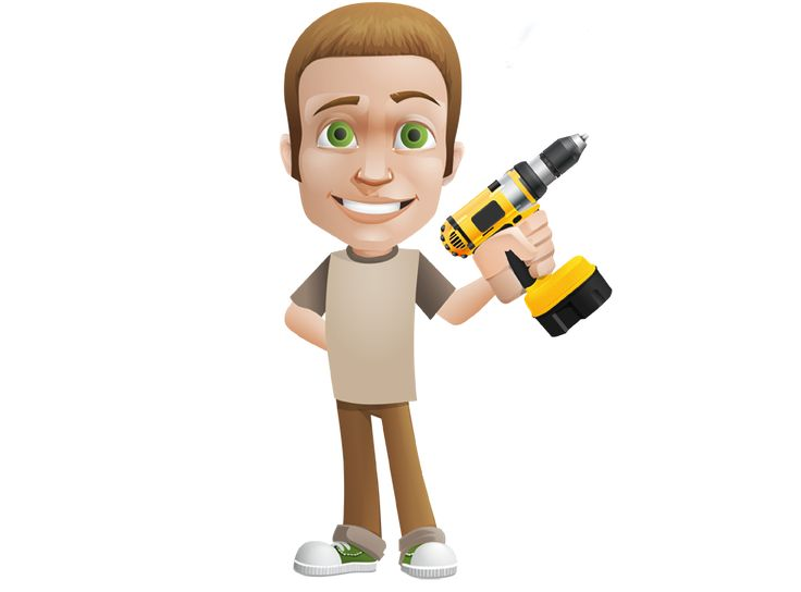 Image for Free Man Holding A Drill Vector Character