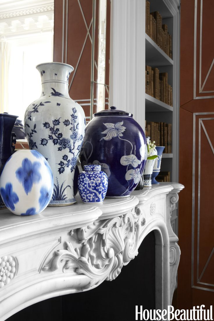 Image Result For Blue And White Chinese Vases On Mantel Blue And White Vase Blue White Decor Blue Decor,Blue Wall Living Room