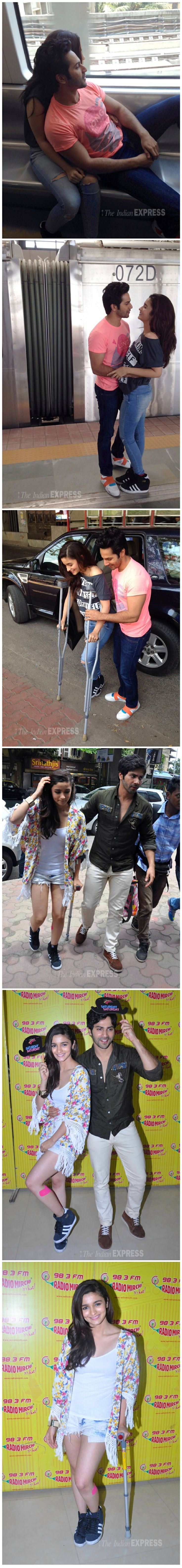 There's no stopping Alia Bhatt, despite injury actress takes a metro ride with Varun.