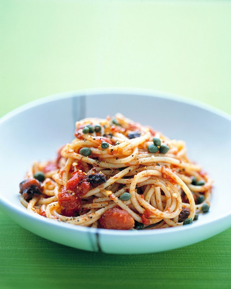 Spaghetti Puttanesca ...This classic Italian recipe can be made with the anchovies or without  (without!).